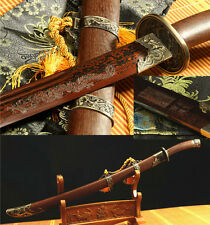 38' RED FOLDED STEEL BLADE SHARP ROSEWOOD DEAGON FUCHI CHINESE SWORD