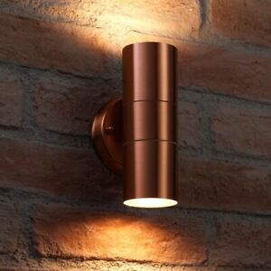 Auraglow Stainless Steel Outdoor Double Up & Down Wall Light & LED Bulb - COPPER