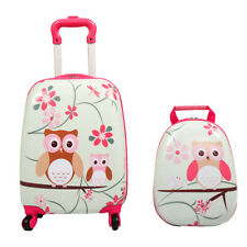 Kids Suitcase- 2 Pieces Travel Luggage 16' Tall Hard Side Pink for School Girls