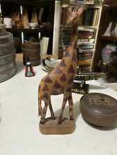 Vintage Hand Carved Giraffe Statue All Wood Great Detail 10� Tall
