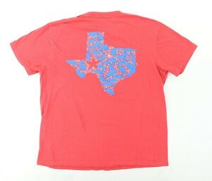 "Columbia PFG Men Large 42.5"" Fish Texas State T Shirt Red Blue Star"