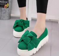 Womens Girls Bowknot Round Toe Casual Shoes Platform Canvas Creepers Sneakers G