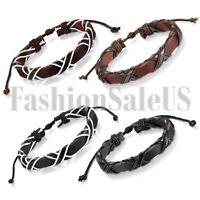 Women Men Vintage Multilayer Leather Handmade Adjustable Cuff Wristband Bracelet