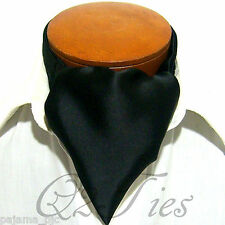 MEN'S SOLID BLACK Free Style Casual Ascot Cravats Formal Party Wedding Party