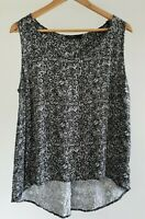 Just Jeans Womens Plus Size 16 Casual Black Boho Pattern Sleeveless Tank Top EUC