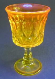 Vintage depression glass goblet yellow manganese glows under UV