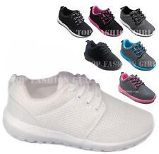 Nuevos Niños Chicos Chicas Malla Zapatillas Con Cordones Calzado Deportivo Tenis Talla 10 a 4 jóvenes