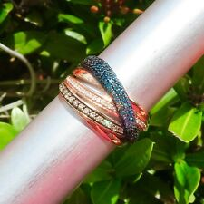 10k Solid Rose Gold 1ct Blue Brown and White Diamond Cocktail Ring Size 6.75