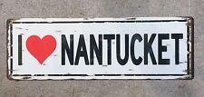 I Love Nantucket Cape Cod Island Beach Style Vintage Steel Sign Home Decor