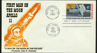 C76 Moon Landing Cachet 1969 Dual Cancel Unaddressed Thermographed FDC Kennedy
