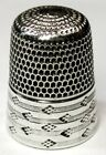 Antique Simons Bros  Sterling Silver Thimble  Engine Turned  Diamonds On Lines