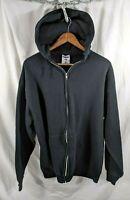 Jerzees VTG 90s Full Zip Hoodie Blank Black Sweatshirt XL For Bootleg Printing