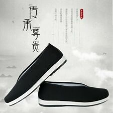 Men Traditional Chinese Espadrille Slipper Shoes KungFu Flat Martial Black