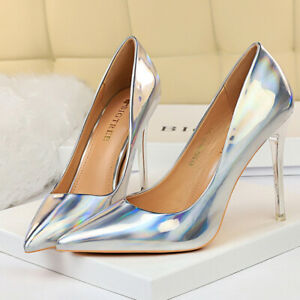 Women's Classic Pumps Pointed Toe Stiletto High Heeled Wedding Shoes US 6 Silver