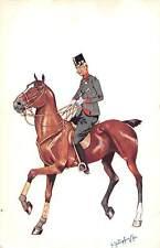 Military Uniform, Brown Horse, Illustration, Signed Card 1903?