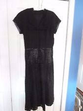 Vintage black tulle ribbon dress, fitted wiggle as is 10? 30 in waist