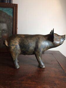 🦋sculpture bronze Animalier,gros Cochon,signé
