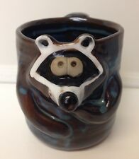 RACCOON BROWN & BLUE CERAMIC POTTERY 8OZ 3D FACE MUG STRIPED HANDLE