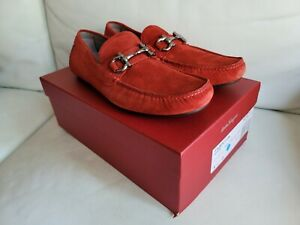 Salvatore Ferragamo 8.5 41 Parigi Red Orange Suede Driver Car Slip-On Shoe $695