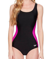Speedo Women's Black Illusion Splice Ultraback One-Piece Swimsuit Size 12 2627