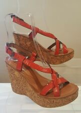 Bronx Ladies Coral Orange Leather Cork Wedge Platform Sandals UK 4 EU 37