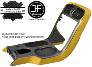 YELLOW REAL LEATHER SIDE CONSOLE BEZEL SURROUND COVER FOR CORVETTE C6 2005-2013