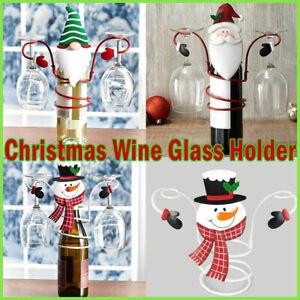 Christmas Wine Bottle & Glass Holders White Wine Rack Champagne Xmas Decoration