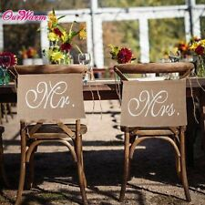 Mr & Mrs Burlap Lace Chair Signs Rustic Country Wedding Chair Flag Banner Decor