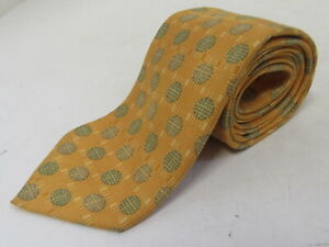 HERMES 100% Silk Gold Tie with Green Weaved Circle Pattern