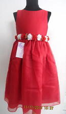 Holiday Red White Rose Dress Sash Pageant Occasion Wedding Valentine  6 NWT New