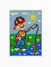 Little Boy Fishing Beaded Banner Pattern