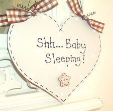 SHH BABY SLEEPING! ~ Shabby Chic Heart Sign Plaque ~ Choose Different Colours