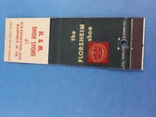 H & M SHOE STORE BLUEFIELD W VA FLORSHEIM SHOES MATCHBOOK VINTAGE ADVERTISING