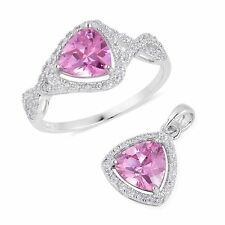 """STERLING SILVER SIMULATED PINK DIAMOND RING 9  NECKLACE SET 18"""" CHAIN TRIANGLE"""