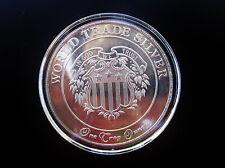 Vintage American Argent Mint Ltd World Trade Silver 1 Oz .999 Silver Art Round