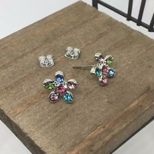 Flower Crystal Titanium Stud Earrings Made in Korea US Seller