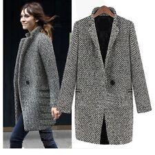 Black White Jacket Elegant Outerwear Ladies Womens Winter trench Coat Size 18