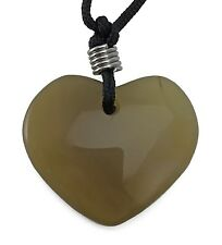 Heart Agate Gemstone Pendant Hand Carved Stone Necklace