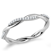 042  ROUND ETERNITY BAND SIMULATED DIAMOND RING STAINLESS STEEL WEDDING TWIST