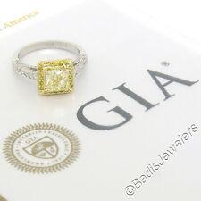 Platinum 18K Gold GIA Certified 2.44ct Fancy Yellow Diamond Halo Engagement Ring