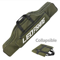 Portable Folding Fishing Rod Carrier Oxford Cloth Pole Tools Storage Bag Case