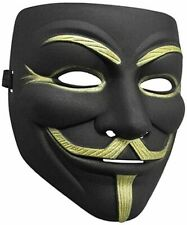 2 Pack V for Vendetta Matte Finish Black Mask Fawkes Anonymous Costume Polishing