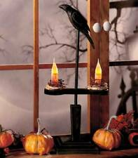 Primitive Country Style Crow Candle Table Lamp Halloween Fall Decor NEW