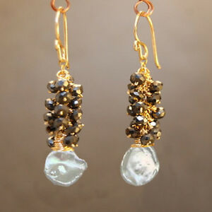 Maldives 211 ~Spinel Cluster & Ivory Keshi Pearl Earrings, Metal Choice