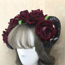 Fashion Sheep Horn Rose Flower Headband Gothic Horror Horns Halloween Gift S4