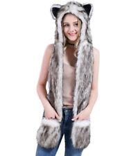 White Wolf Faux Fur Animal Spirit Hood Hoods Mittens Gloves Scarf Paws Ears