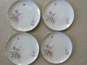 """Golden Rose Fine China of Japan 10.25"""" Dinner Plate Set Lot of 4"""