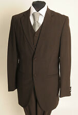 MJ-153 MENS THREE PIECE BROWN PINSTRIPE LOUNGE SUIT WEDDING/FORMAL/BUSINESS