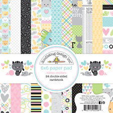 Scrapbooking Crafts Doodlebug 6X6 Paper Pad Kitten Smitten Cats Mice Plaid Fish