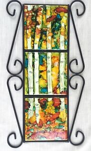 Hand Painted Alcohol Ink Tile Wall Plaque - Aspen Trees